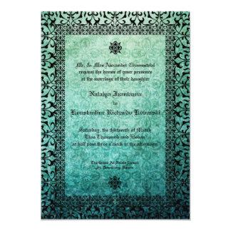 Square Ornate Green Damask Gothic Wedding Invitati 13 Cm X 18 Cm Invitation Card