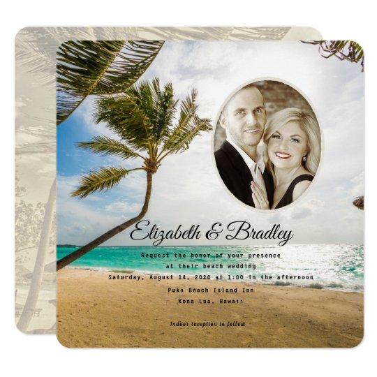 Square Palm Tree Tropical Wedding Photo Invitation