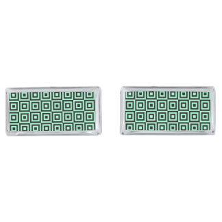 SQUARE PATTERN (GREEN) Rectangle Cufflinks Silver Finish Cuff Links