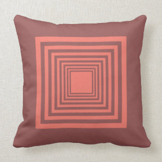 Square Pattern in Cinammon and Pink Cushion