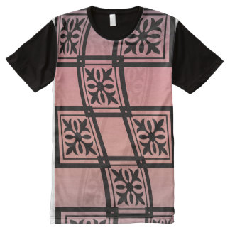 Square Pattern Maroon Pink Color All-Over Print T-Shirt