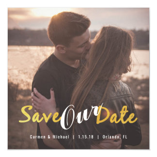 Square Photo Magnet Gold Calligraphy Save The Date