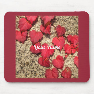 Square Photo Template Red Heart-Shaped Leaves Mousepads