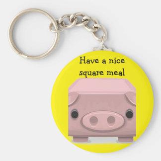 Square  Pig Fun Pun Basic Round Button Key Ring