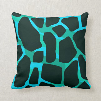 Square Pillow Teal Blue Green Black Animal Cow