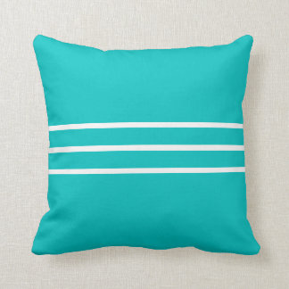 Square Pillow Teal Blue White Cushion Block Color