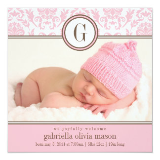 Square Pink Damask | Birth Announcement