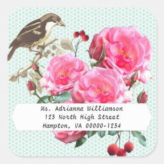 Square Pink Roses Return Address Sticker