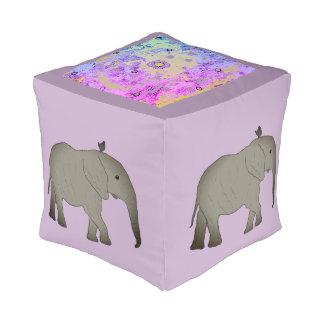 Square pouf Elephants Africa