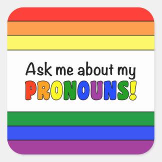 Square Pronouns Sticker (Rainbow)