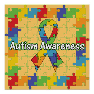 Square Puzzle Ribbon Autism Awareness Poster