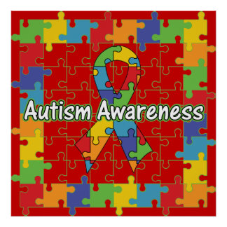 Square Puzzle Ribbon Autism Awareness Print