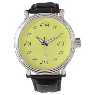 Square Root Math (Black/Yellow) Wrist Watches