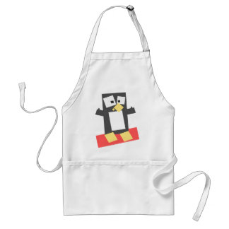 Square Shaped Cartoon Penguin Atop a Red Block Apron