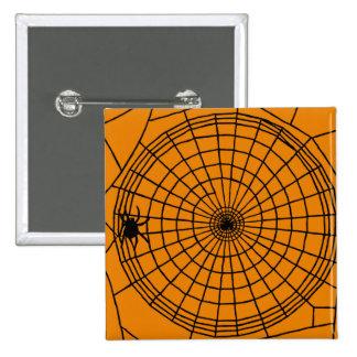 Square Spider Web, Scary Halloween Design 15 Cm Square Badge
