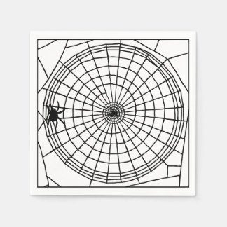 Square Spider Web, Scary Halloween Design Disposable Serviettes