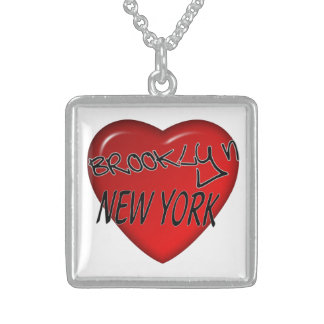 Square Sterling Silver Necklace I Heart Brooklyn