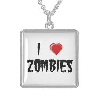 Square Sterling Silver Necklace I Heart Zombies