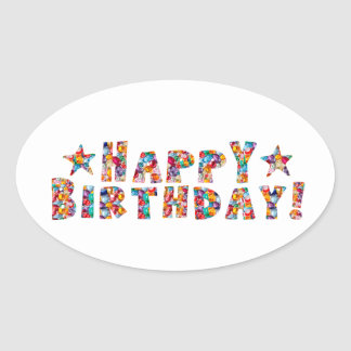 Square Stickers HAPPY BIRTHDAY