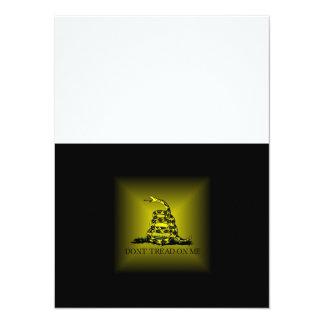 "Square Sunburst Gadsden Flag 5.5"" X 7.5"" Invitation Card"