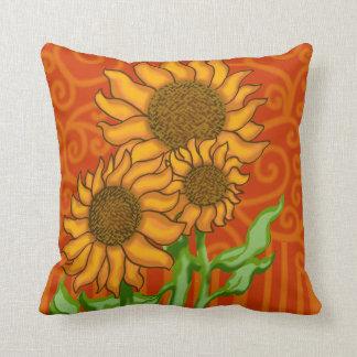 Square Throw Pillow/Sunflower Trio Cushion