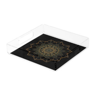 Square Tray Black and Golden Design