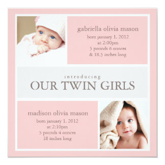 Square Twins Collage | Birth Announcement