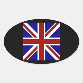 Square Union Jack Oval Sticker