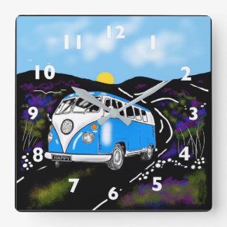Square wall clock camper van blue
