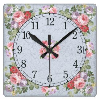 Square wall clock - floral design