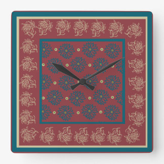 Square Wall Clock, Maroon, Blue Floral Wallclock