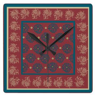 Square Wall Clock, Maroon, Blue Floral Wallclock