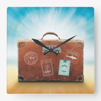 Square Wall Clock with travel motive