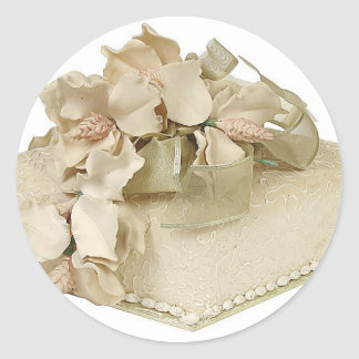 Square Wedding Cake Round Stickers
