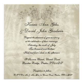 Square Wedding Invitation Vintage Paper Butterfly