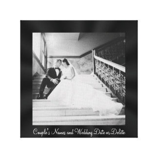Square Wedding Photo Canvas, Printed Black Frame Canvas Print