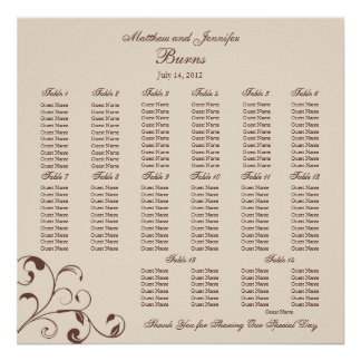 Square Wedding Reception Seating Chart Print