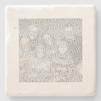 Square White Border Photo Stone Coaster