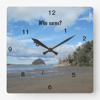 """Square """"Who Cares?"""" Wall Clock"""