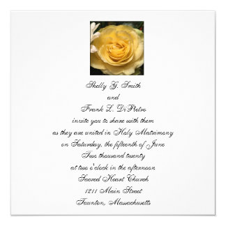 Square Yellow Rose Wedding Invitation