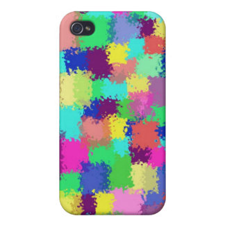 Squared Paint Splatters Cover For iPhone 4
