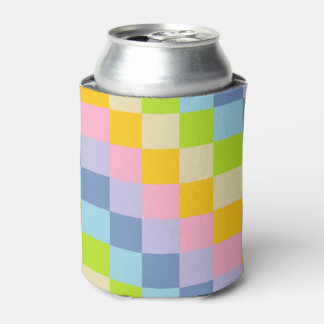 Squared Pastel Rainbow Can Cooler