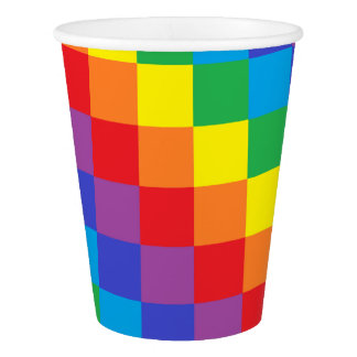 Squared Rainbow Paper Cup