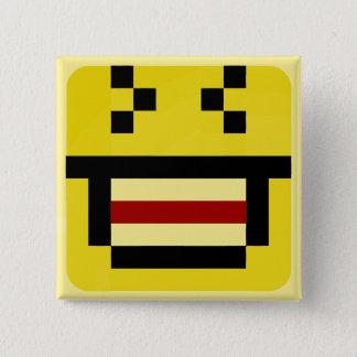 squared smiley big laugh 15 cm square badge