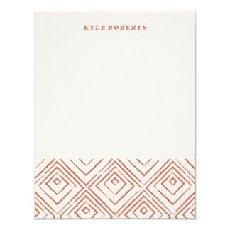 Squared Stationery - Rust 11 Cm X 14 Cm Invitation Card