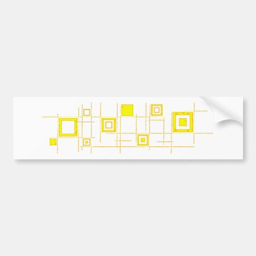 Squares and Lines Yellow (Yellow Squares Lines) Bumper Stickers