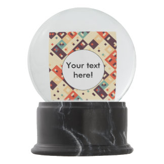 Squares in retro colors abstract design snow globe