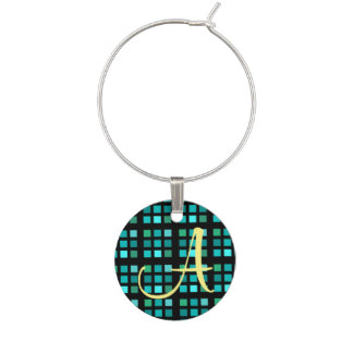 Squares Pattern In Blue Wine Charm