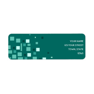 Squares Turquoise Artistic Geometric Trendy Cool Return Address Label