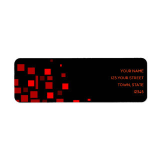 Squares Vibrant Black Red Geometric Stylish Chic Return Address Label